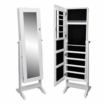 White Mirrored Jewelry Cabinet Mirror Organizer Armoire Storage Box