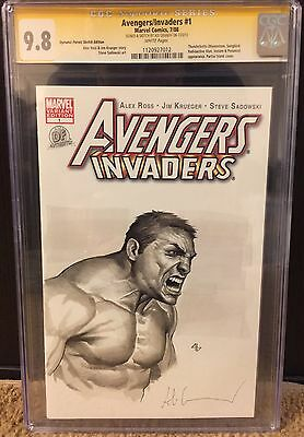 Avengers Invaders #1 Cgc Ss 9.8 Signed & Sketch By Adi Granov The Hulk