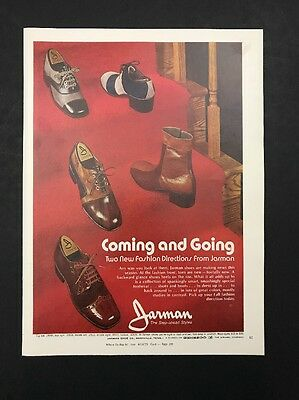 1972 Vintage Print Ad 70's JARMAN Men's Foot Fashion Shoes Red Background