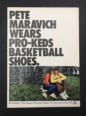 1972 Vintage Print Ad 1970s PRO-KEDS Basketball Shoes Pete Maravich