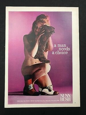 1972 Vintage Print Ad 1970s NUNN BUSH Shoes Boots Men's Foot Fashion