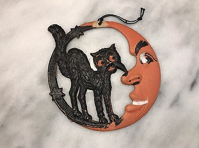 1920's VINTAGE HALLOWEEN GERMAN CRESCENT MOON WITH CAT - DIECUT