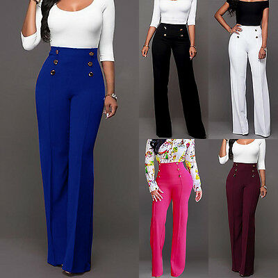 Hot Womens Plus Size Work Trousers Office Formal Plain High Waist Straight Pants