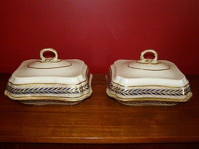Antique Derby Rare Pattern Pair of Covered Dishes 1806-25