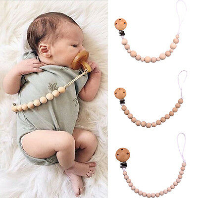 Baby Pacifier Holder Clip Dummy Toy Holder Teether Wooden Beads Shower Gifts