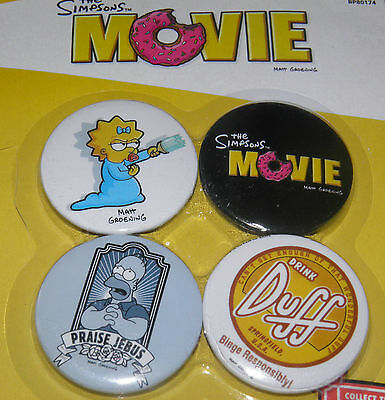 The Simpsons Movie Button Badge 1 Set Official 4 x 38mm Badges