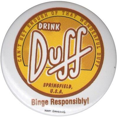 The Simpsons Duff Beer Logo Binge Responsibly LARGE 1.5 inch pin badge Official