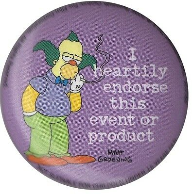 The Simpsons Krusty I heartily endorse this 1 inch button badge Official