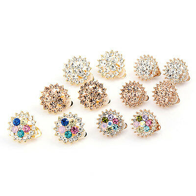 Womens Clip-On Earrings Colorful Crystal Sunflower Gold Plated Vintage jewelry