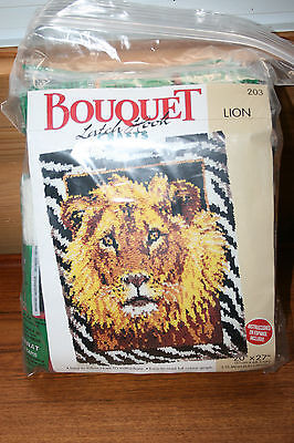 "Rug Latch Hooking Kit Lion 20"" x 27"" Size BOUQUET BRAND Mesh Rug no hook"