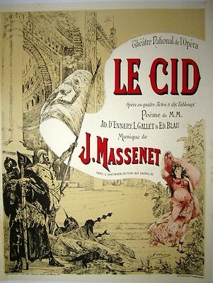 "Vintage French Opera Poster ""Le Cid"" on Linen"