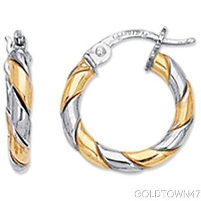 14kt Yellow+White Gold Shiny Two Tone Twisted Hoop Earring