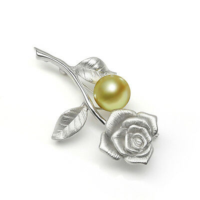 10.3mm Natural Golden Real South Sea Pearl Brooch Flower Pin 925 Sterling Silver