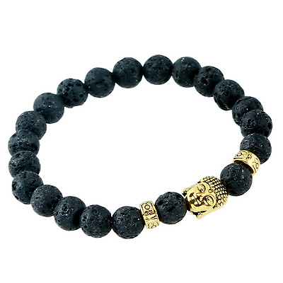 Natural Black Lava Stone Beads & Gold Bhudda Bead 8MM Aromatherapy Bracelet Gift