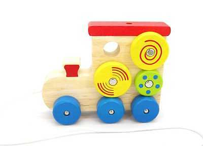Brand New Kaper Kidz Toys Train Pull A Long Spinning Pattern Wooden Infant Toy
