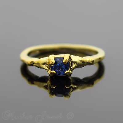 Pretty Petite Yellow Gold Plated Light Blue Girls Womens Solitaire Ring