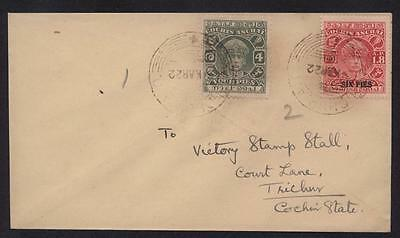 India 1922 Cochin State Sg77 & Sg68 On Cover To Trichur - Cat (30+1)X8 = £248