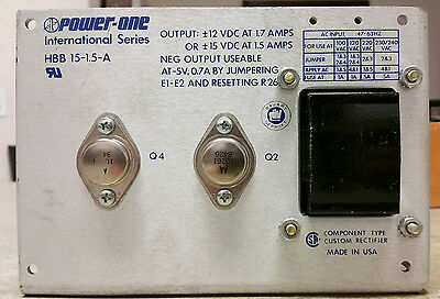 Power-One International Series HBB 15-1.5-A DC Power Supply +/-12V / 15V 1.7A