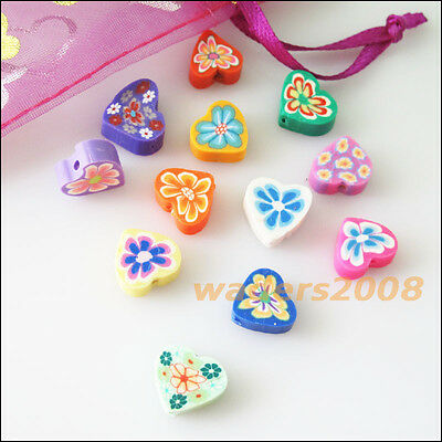20 New Charms Handmade Polymer Fimo Clay Heart Flat Spacer Beads Mixed 12mm