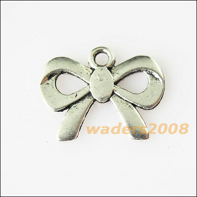 15 New Smooth Butterfly Bow Tibetan Silver Tone Charms Pendants 14x18mm