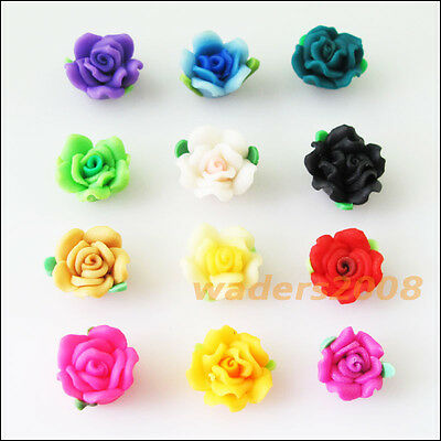 10 New Charms Handmade Polymer Fimo Clay Rose Flower Spacer Beads Mixed 12mm