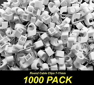 Bulk 1000 x White Cable Fastener Clips with Nail - Round 7-11mm