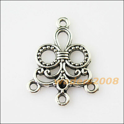 6 New 1-3  Flower Tibetan Silver Tone Charms Pendants Connectors 21.5x29mm