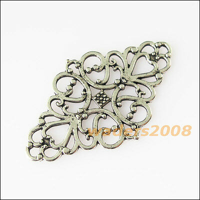 8 New Oval Flowers Connectors Tibetan Silver Tone Charms Pendants 29x40mm