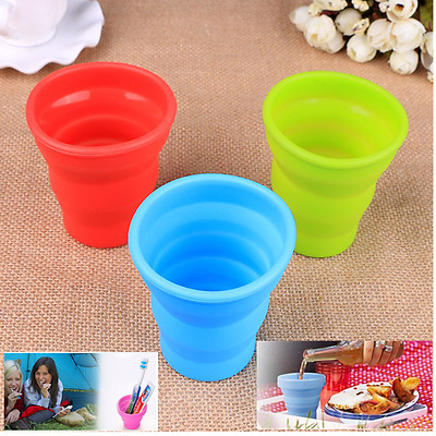Portable Silicone Retractable Folding Water Cup Outdoor Travel Soft Cup (No lid)