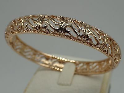 14ct 9ct Yellow Gold GF 60mm Large Greece Rococo Filigree Solid Bangle Bracelet