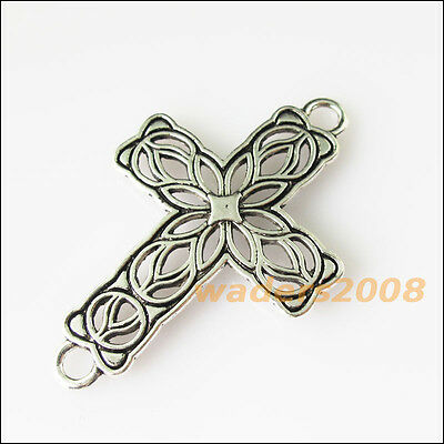4 New Flower Cross Connectors Tibetan Silver Tone Charms Pendants 27.5x42mm