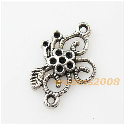 12 New Star Flower Connectors Tibetan Silver Tone Charms Pendants 15.5x23.5mm