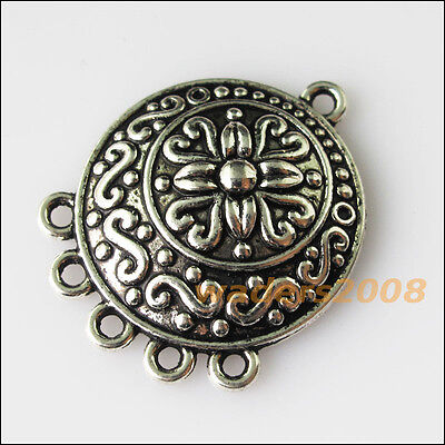 5 New Round Flower Connectors Tibetan Silver Tone Charms Pendants 23x28.5mm