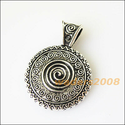 3 New Round Screw Flower Tibetan Silver Tone Charms Pendants 24.5x34.5mm