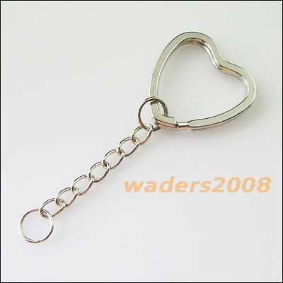 3 New Connectors Dull Silver Plated Split Heart Key Rings With Chains 31mm