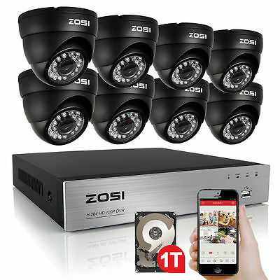 ZOSI 720/1080P Metal HD-TVI 8CH / 4CH DVR Video CCTV Security Camera System 1TB