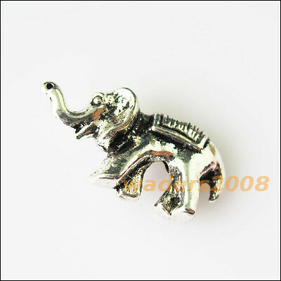 8 New 3D Animal Elephant Charms Tibetan Silver Tone Spacer Beads 10x20mm