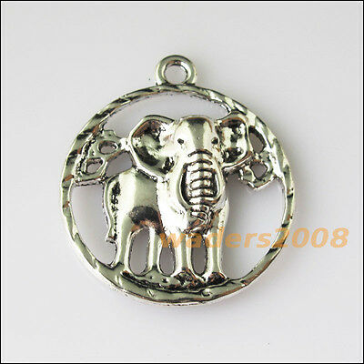 4 New Round Elephant Animal Tibetan Silver Tone Charms Pendants 27x31.5mm
