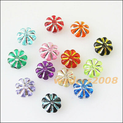 200 New Charms Gold Silver Line Acrylic Plastic Mixed Flower Spacer Beads 7mm