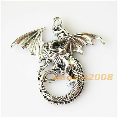 2 New Flying Wings Dragon Tibetan Silver Tone Charms Pendants 42x45.5mm