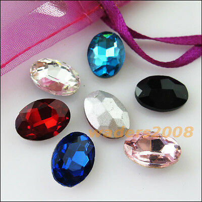 12 New Charms Mixed Faceted Oval Glass Crystal Rhinestone Pointed Back 10x14mm