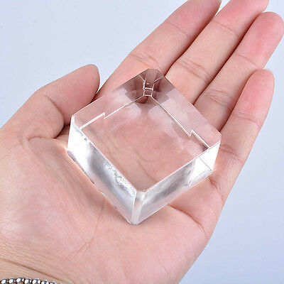1X Clear Square Block Dent Sphere Crystal Ball Display Base Stand Holder Station