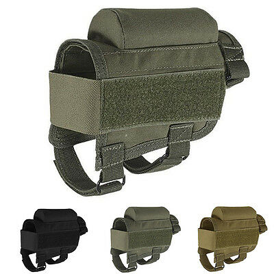 Portable Adjustable Tactical Butt Stock Rifle Cheek Rest Pouch Holder Case Pack