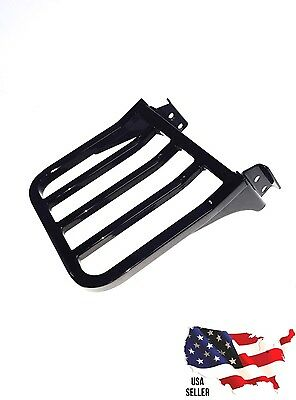 New Gloss Black Harley Luggage Rack Dyna Backrest Sissy Bar Street Bob Low Rider