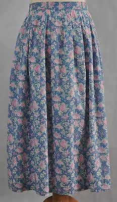 Vintage Laura Ashley Pink and Blue Floral 100% Cotton Pleated Skirt Size 16