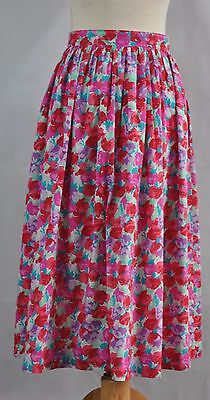 Vintage Laura Ashley Pink - Red - Multi Floral 100% Cotton Pleated Skirt Size 16