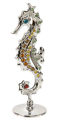 Crystocraft Crystal Gift - Silver Sea Horse with Swarovski Elements Present