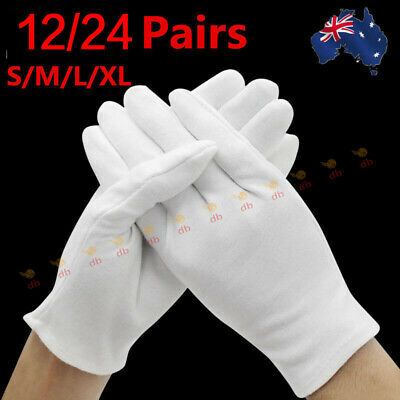 5 Pairs Cotton White Soft Gloves Costume Jewellery Handling Work Hands Protector