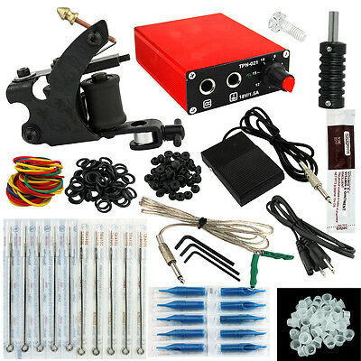 OPHIR Black Machine Tattoo Kit with Red Power Supply Tattoo Grip for Beginner
