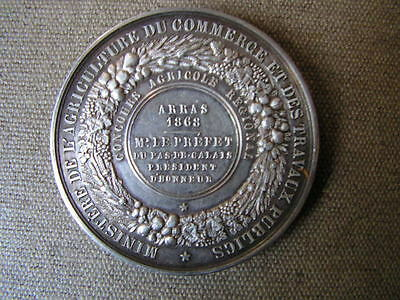 ancienne medaille argent napoleon III agricole arras 1868 prefet agriculture